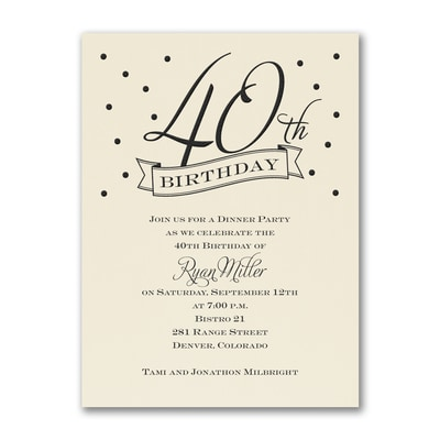40th Confetti - Birthday Invitation - Ecru