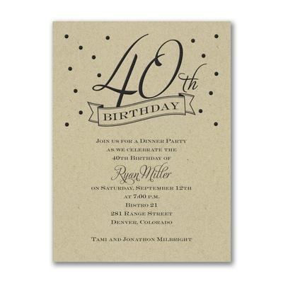 40th Confetti - Birthday Invitation - Kraft
