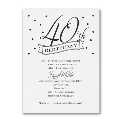 40th Confetti - Birthday Invitation - White