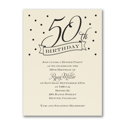 50th Confetti - Birthday Invitation - Ecru