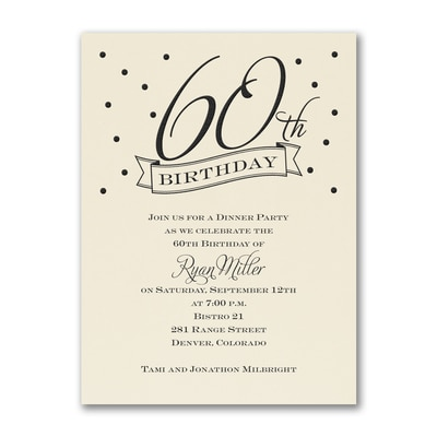 60th Confetti - Birthday Invitation - Ecru