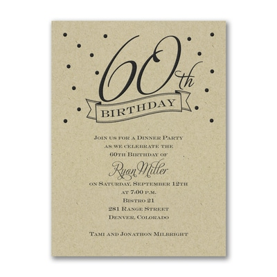 60th Confetti - Birthday Invitation - Kraft