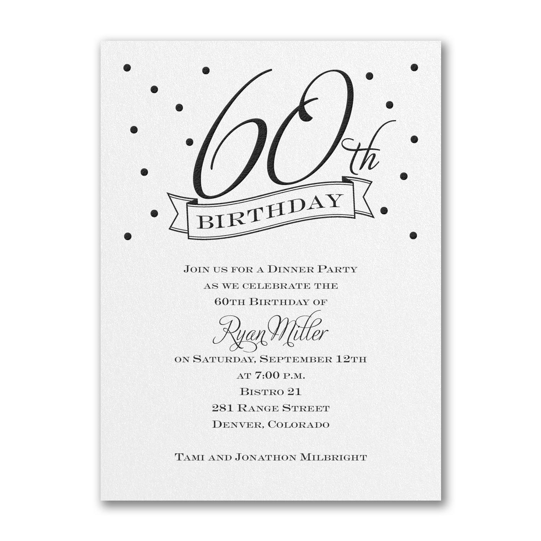 60th Confetti - Birthday Invitation - White Shimmer > Birthday ...