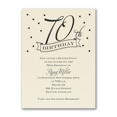 70th Confetti - Birthday Invitation - Ecru