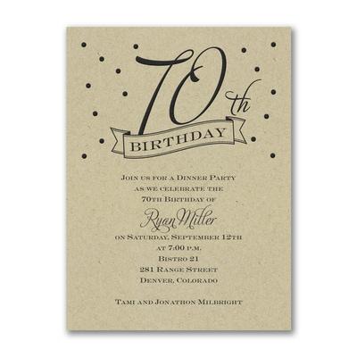 70th Confetti - Birthday Invitation - Kraft