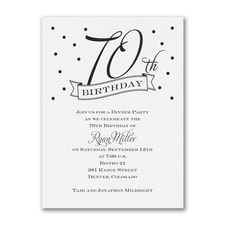70th Confetti - Birthday Invitation - White