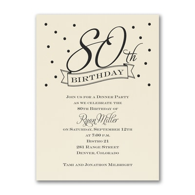 80th Confetti - Birthday Invitation - Ecru