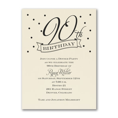 90th Confetti - Birthday Invitation - Ecru