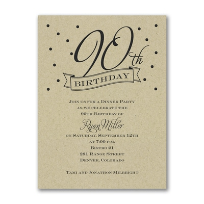 90th Confetti Birthday Invitation Kraft Birthday Invitations