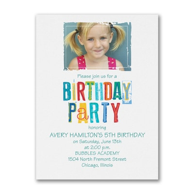Colorful Birthday - Photo Birthday Invitation