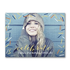 Confetti Sparkle - Photo Birthday Invitation