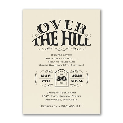Over the Hill - Birthday Invitation - Ecru