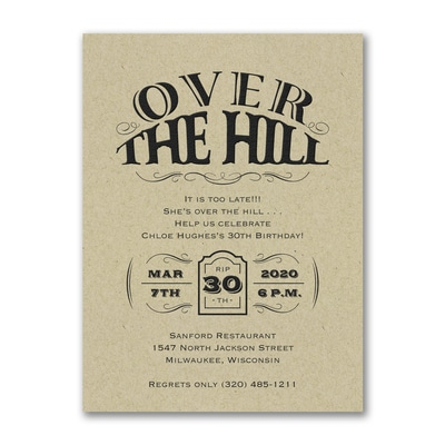 Over the Hill - Birthday Invitation - Kraft