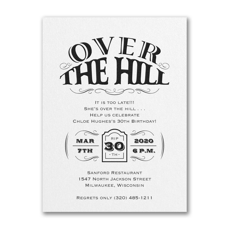 Over the Hill - Birthday Invitation - White Shimmer > Birthday ...