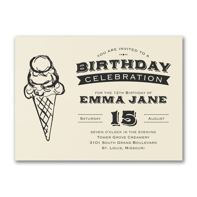 Ice Cream Cone - Birthday Invitation - Ecru