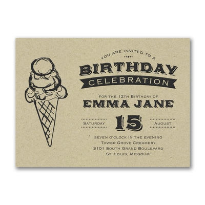 Ice Cream Cone - Birthday Invitation - Kraft