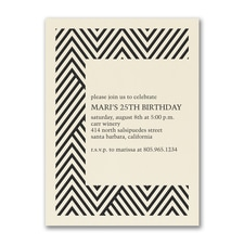 Modern Chevron - Birthday Invitation - Ecru