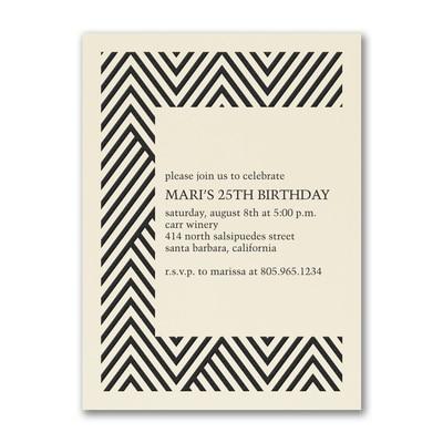 Modern Chevron - Birthday Invitation - Ecru