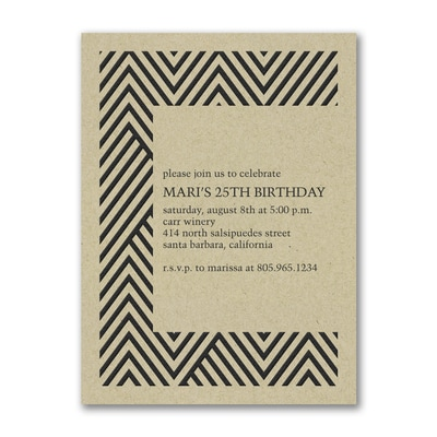 Modern Chevron - Birthday Invitation - Kraft