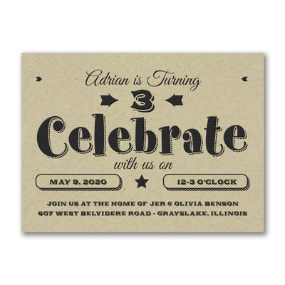 Big Celebrate - Birthday Invitation - Kraft