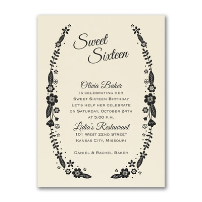 Sweet Floral - Birthday Invitation - Ecru