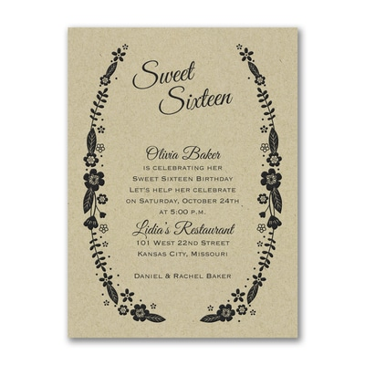 Sweet Floral - Birthday Invitation - Kraft