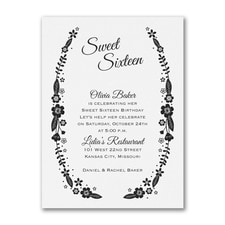 Sweet Floral - Birthday Invitation - White