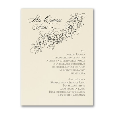 Floral Mis Quince - Birthday Invitation - Ecru