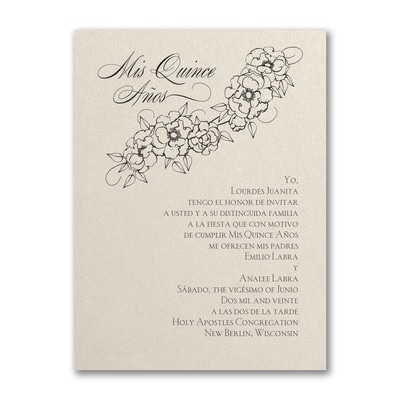 Floral Mis Quince - Birthday Invitation - Ecru Shimmer