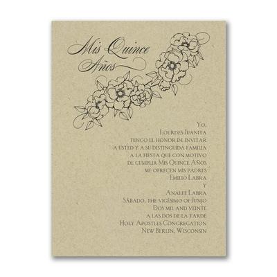 Floral Mis Quince - Birthday Invitation - Kraft
