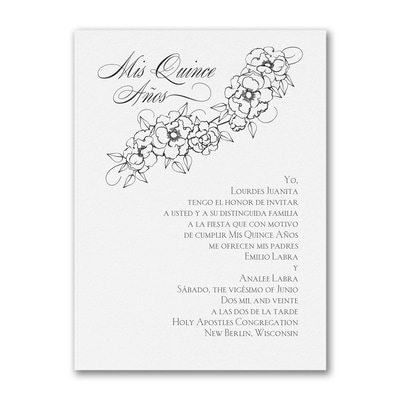 Floral Mis Quince - Birthday Invitation - White