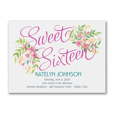 Boho Sixteen - Photo Birthday Invitation