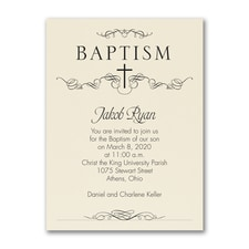 Classic Baptism - Baptism Invitation - Ecru