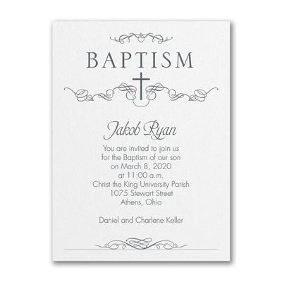 Classic Baptism - Baptism Invitation - White Shimmer