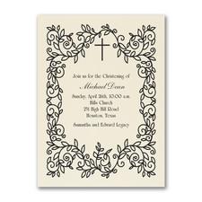 Classic Christening - Baptism Invitation - Ecru