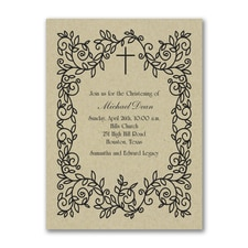 Classic Christening - Baptism Invitation - Kraft