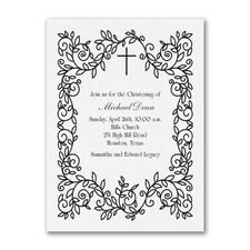 Classic Christening - Baptism Invitation - White