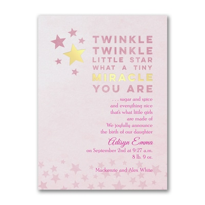 Miracle Twinkle - Photo Birth Announcement