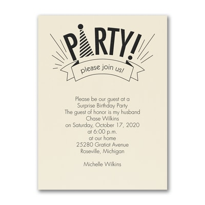 Party Hat - Party Invitation - Ecru