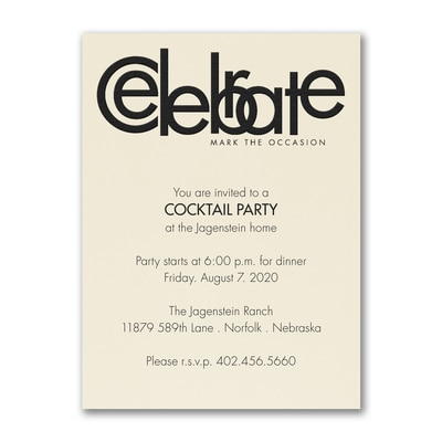 Celebrate - Party Invitation - Ecru