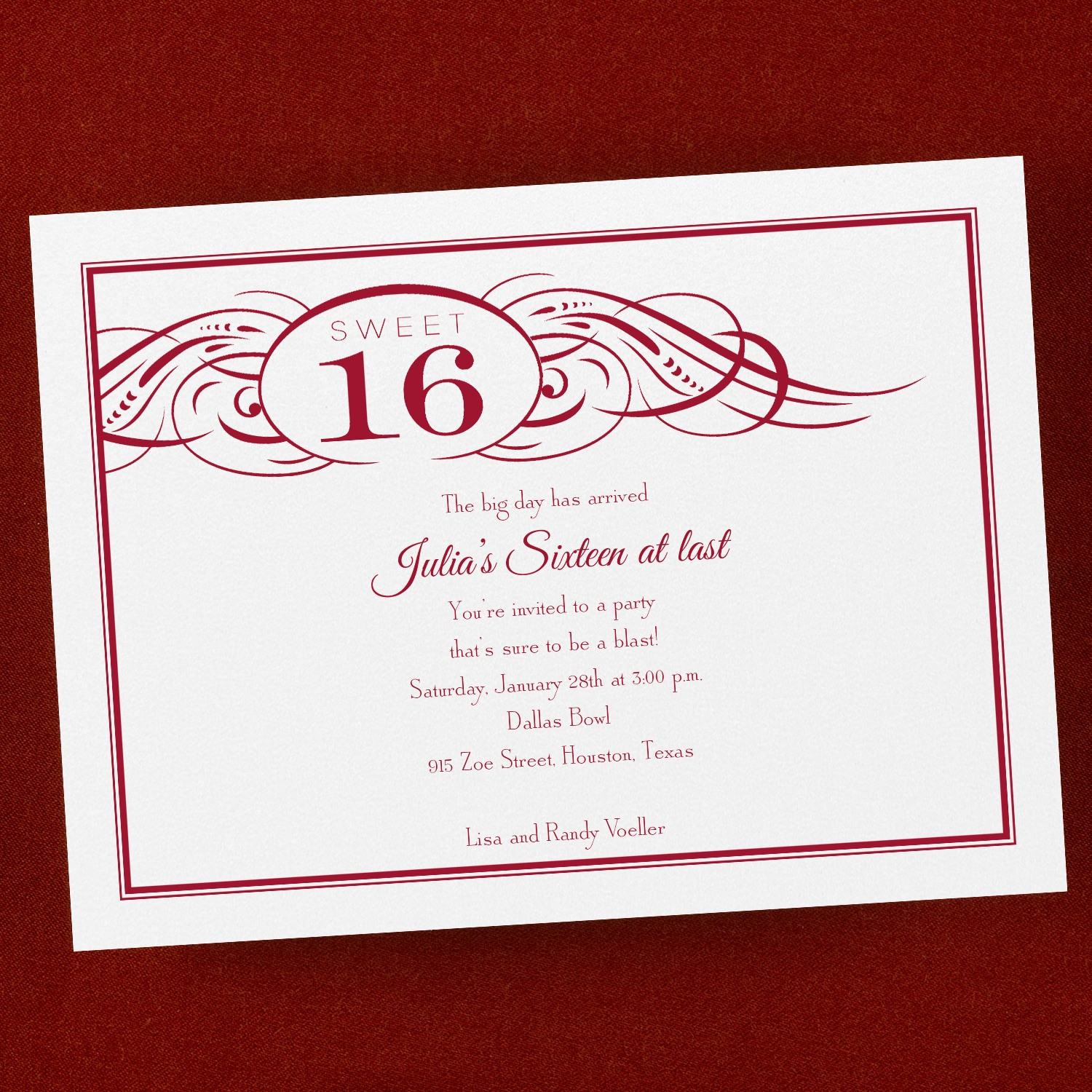 Swirled Sweet 16 - Invitation > Sweet Sixteen | Carlson Craft ...