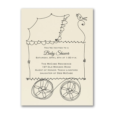 Buggy - Baby Shower Invitation - Ecru