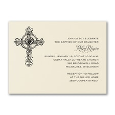 Genuine Cross - Baptism Invitation - Ecru