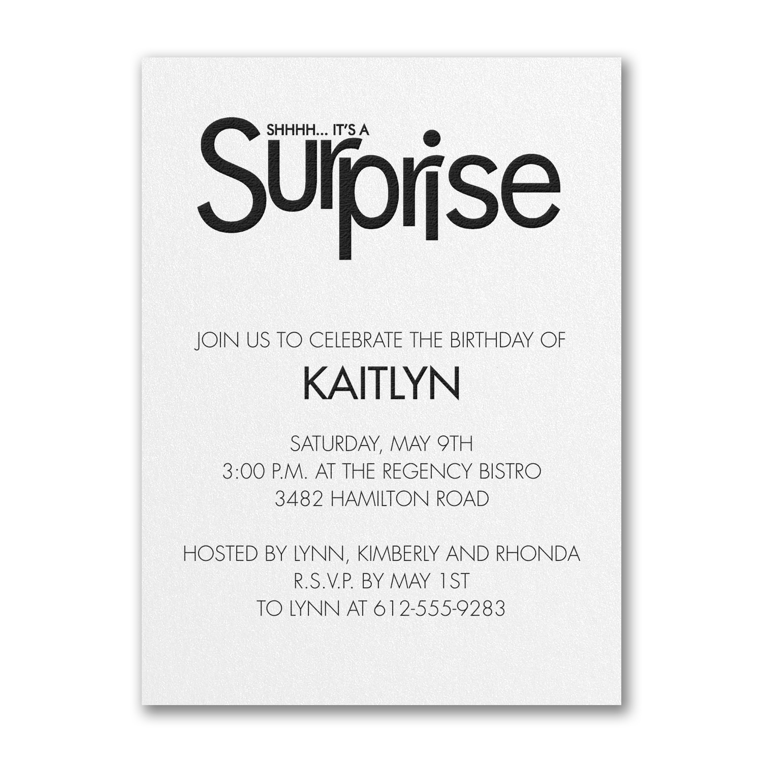 Surprise Party Birthday Invitation White Shimmer Adult