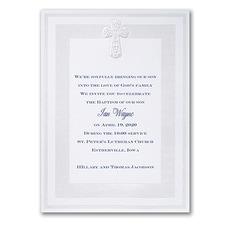 Baptism Christening Invitation: Pearlized Cross