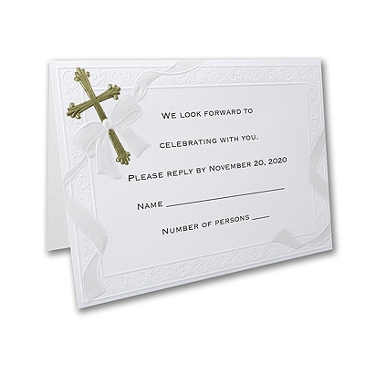 Help Us Celebrate - Response Card and Envelope - Gold