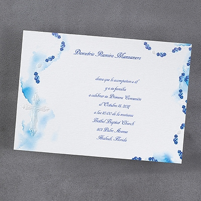 Rosary - Invitation - Blue
