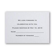 White Shimmer Respond Card and Envelope
