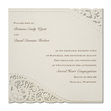 Wedding Invitation: Vintage Pearls and Lace