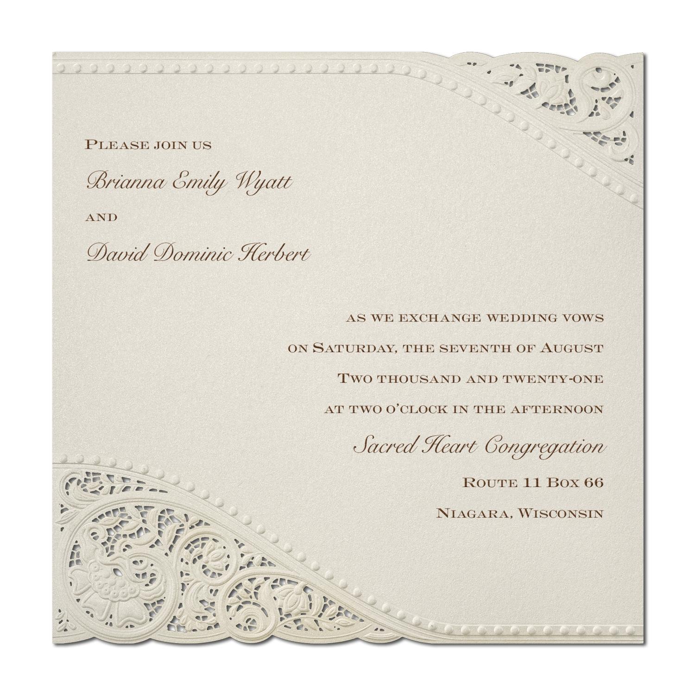 vintage pearls and lace invitation wedding invitations carlson